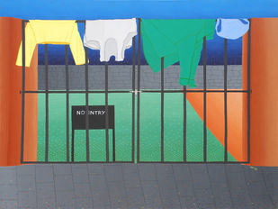 No Entry by Hemavathy Guha, Decorative Painting, Oil & Acrylic on Canvas, Green color