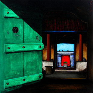 Door 1 by K R Santhanakrishnan, Realism Painting, Acrylic on Canvas, Green color