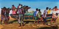 Fishermen At Puri Beach by Prittam Priyalochan, Impressionism Painting, Mixed Media on Canvas, Brown color