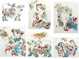 The World of Ravindra Salve by Ravindra Salve, Illustration Serigraph, Serigraph on Paper, Beige color