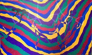 Mumbai 2 by Srushti Rao, Geometrical Painting, Acrylic on Canvas, Blue color
