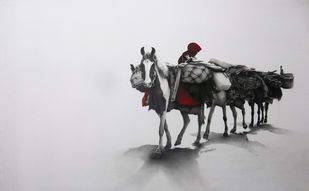 Horse 2 by Yuvraj Patil, Realism Drawing, Charcoal on Canvas, Gray color