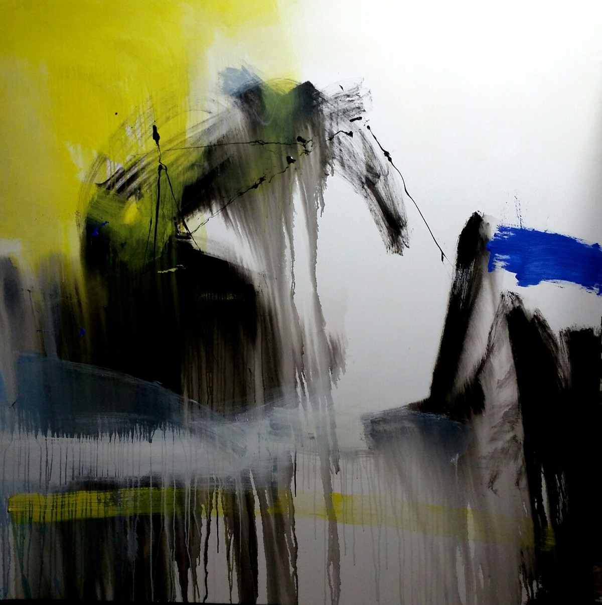 Forming space by Gulrez Ali, Abstract Painting, Acrylic on Canvas, Gray color