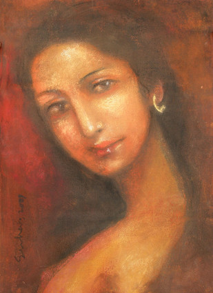 Radha 1 by Suhas Roy, Impressionism Painting, Oil Pastel on Canvas, Brown color