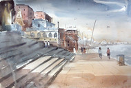 Benaras Ghat IV by Sajal K. Mitra, Impressionism Painting, Watercolor on Paper, Gray color
