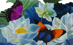 Flowers with Butterflies 2 by Sulakshana Dharmadhikari, Impressionism Painting, Oil on Canvas, Green color