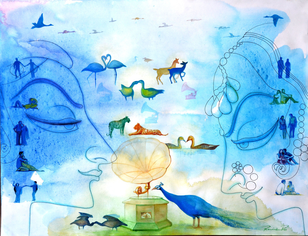 Music Of Love 1 by rawindra kumar das, Fantasy Painting, Watercolor on Paper, Cyan color
