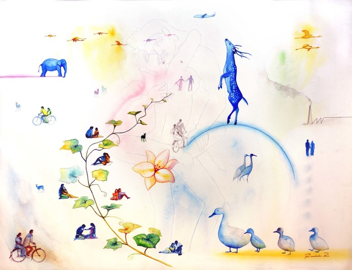 Sky's The Limit by rawindra kumar das, Fantasy Painting, Watercolor on Paper, Beige color