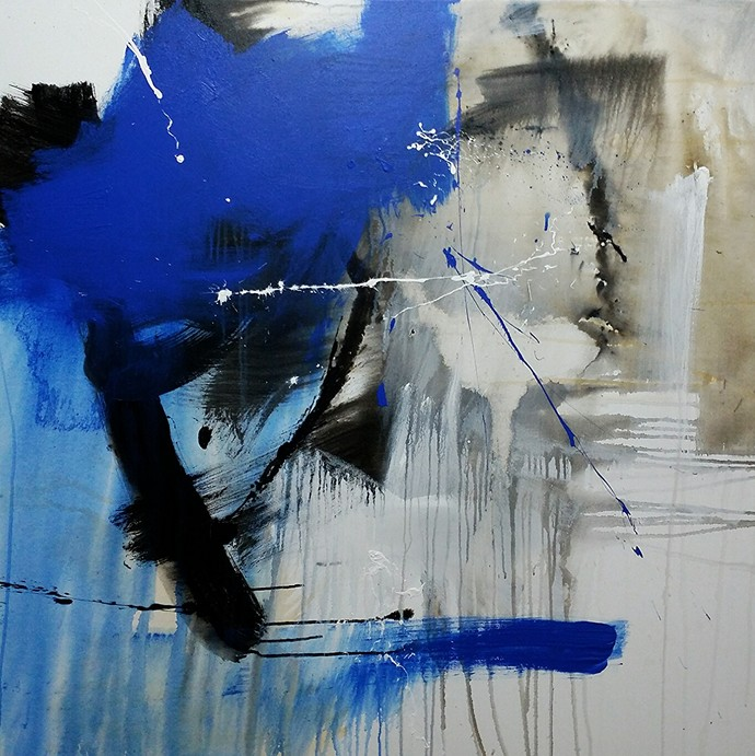 Forming Space by Gulrez Ali, Abstract Painting, Acrylic on Canvas, Blue color