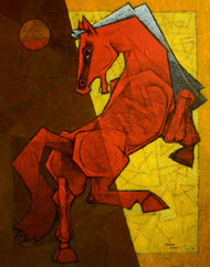 Dancing Under The Moonlight by Dinkar Jadhav, Decorative Painting, Acrylic on Canvas, Brown color