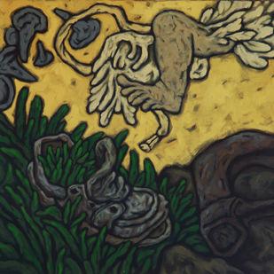 Untitled by Nitin Kushwaha, Expressionism Painting, Acrylic on Canvas, Gray color