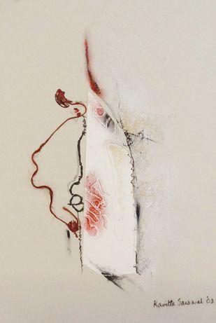 Sealed II by Kavita Jaiswal, Illustration Printmaking, Mixed Media on Paper, Beige color