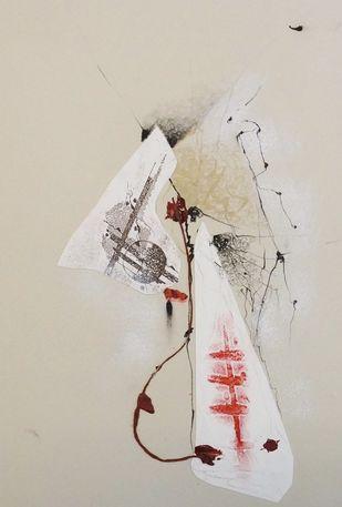 Sealed VII by Kavita Jaiswal, Illustration Printmaking, Mixed Media on Paper, Beige color