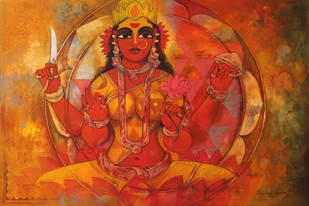 Shakthi by Rajeshwar Nyalapalli, Decorative Painting, Acrylic on Canvas, Brown color