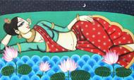 Rhythmic by Varsha Kharatmal, Decorative Painting, Acrylic on Canvas, Cyan color