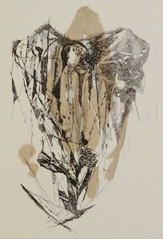 Island II by Kavita Jaiswal, Illustration Printmaking, Etching and Aquatint, Beige color