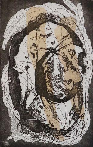 Swirl by Kavita Jaiswal, Illustration Printmaking, Etching and Aquatint, Gray color
