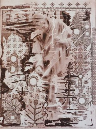 Untitled III by Kavita Jaiswal, Illustration Printmaking, Etching on Paper, Brown color
