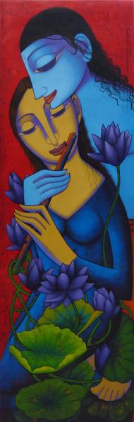 Untitled by Prakash Deshmukh, Decorative Painting, Acrylic on Canvas, Blue color