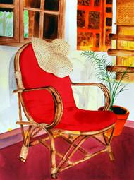 Tarde Sonelenta (Sleepy After noon) by Swati Joshi Phatak, Impressionism Painting, Watercolor on Paper, Red color