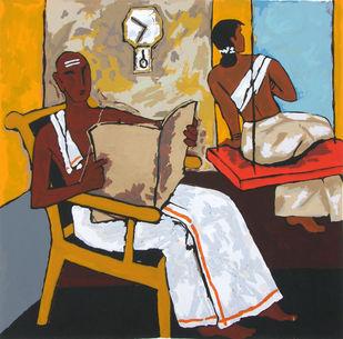 Kerala V by M F Husain, Impressionism Serigraph, Serigraph on Paper, Brown color