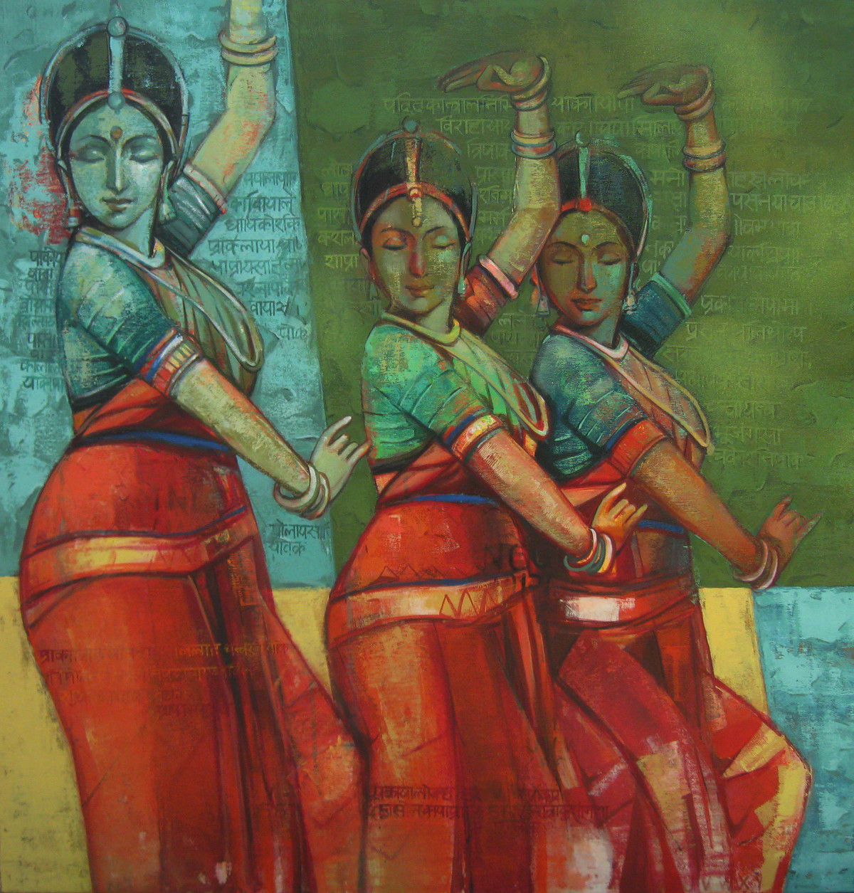 Three Dancers by Anindya Mukherjee, Impressionism Painting, Acrylic on Canvas, Green color