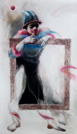 Drawing 4 by Dibyendu Bhadra, Impressionism Drawing, Dry Pastel on Paper, Gray color