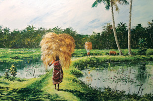 Harvest by Sunil Linus De, Impressionism Painting, Acrylic on Canvas, Green color