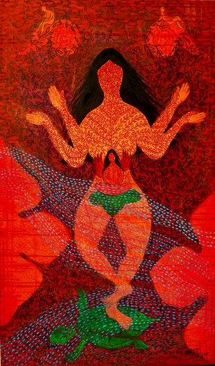 Devi by Kanchan Chander, Expressionism Painting, Acrylic on Canvas, Red color