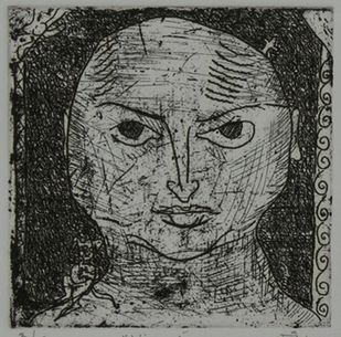 Visage by Kanchan Chander, Illustration Printmaking, Etching on Paper, Gray color