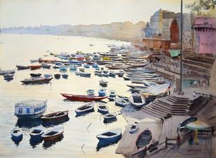 Varanasi Vista Digital Print by Ramesh Jhawar,Impressionism