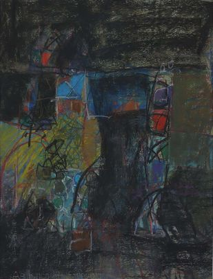 Untitled 32 by Rakesh Kumar, Abstract Drawing, Dry Pastel on Paper, Gray color