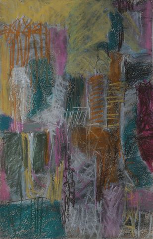 Untitled 34 by Rakesh Kumar, Abstract Drawing, Dry Pastel on Paper, Gray color