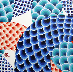 Untitled by Aa Bin, Geometrical Painting, Acrylic on Canvas, Blue color
