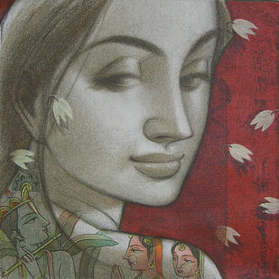 Untitled by Sukanta Das, Decorative Painting, Acrylic on Canvas, Brown color
