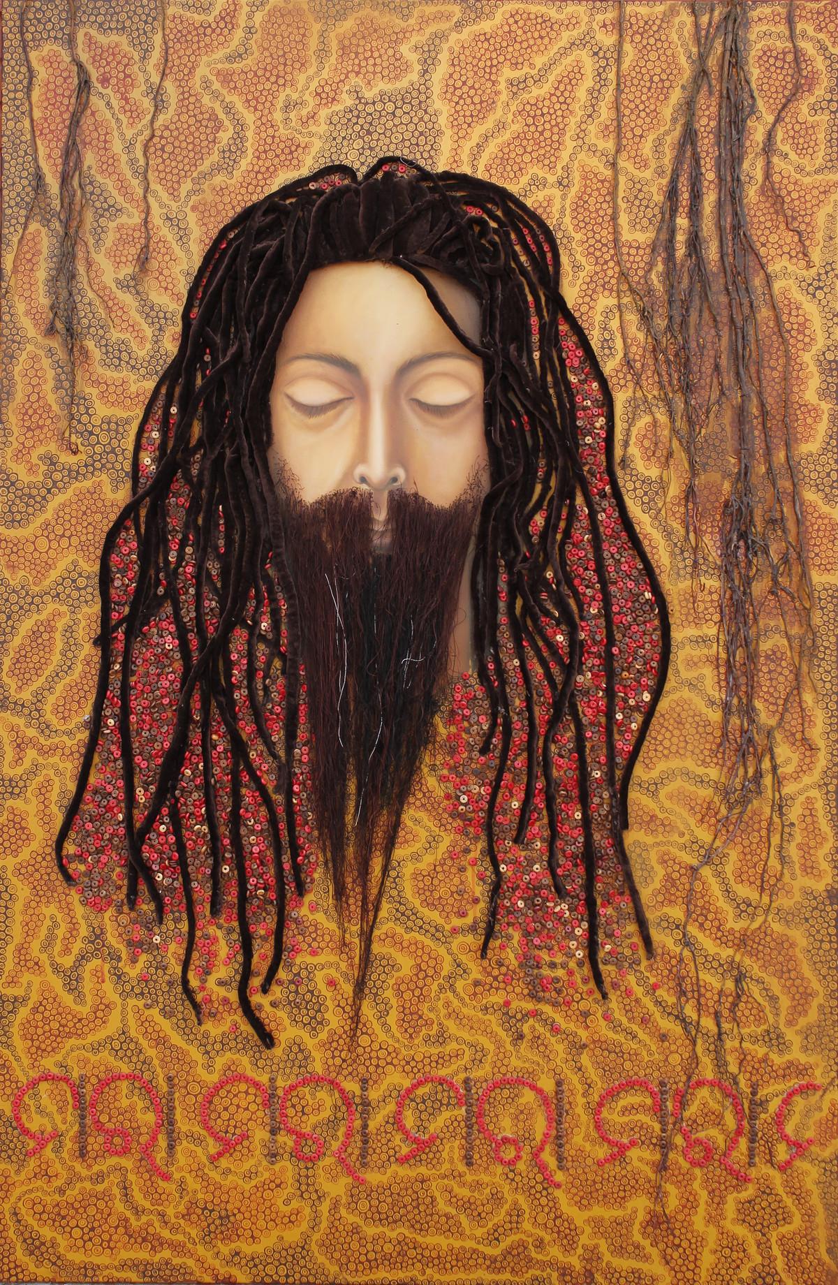 Dasyu Ratnakar by Pranati Das, Pop Art Painting, Mixed Media on Canvas, Brown color