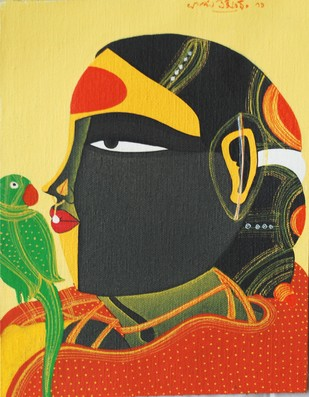 Untitled by Thota Vaikuntam, Traditional Painting, Acrylic on Canvas, Beige color