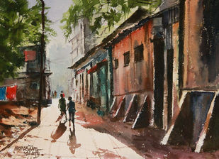 Happy Holidays 6 by Mopasang Valath, Impressionism Painting, Watercolor on Paper, Brown color