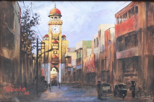 Watch Tower by K V Shankar, Impressionism Painting, Acrylic on Canvas, Brown color