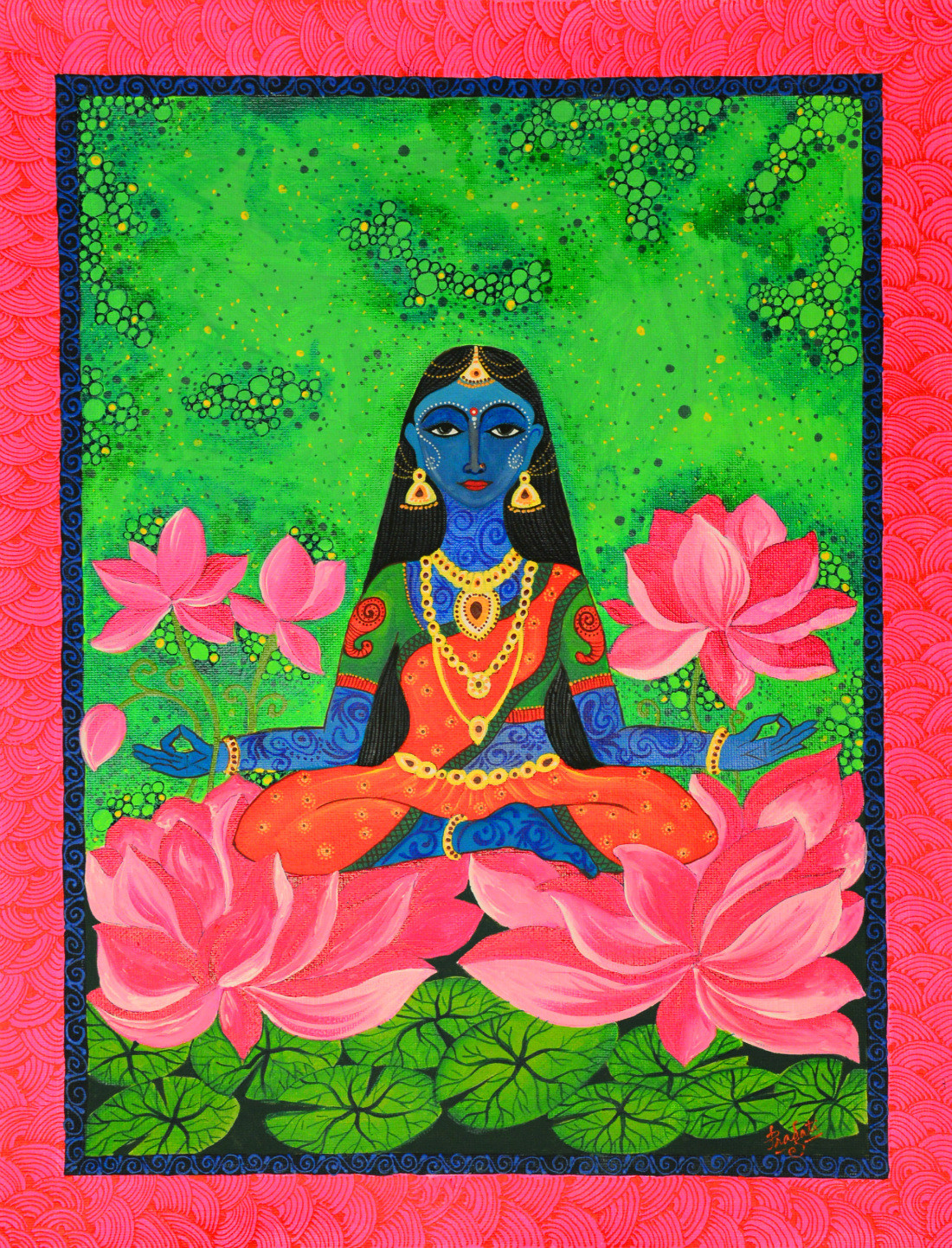 Mahalakshmi by Pragati Sharma Mohanty, Traditional Painting, Acrylic & Ink on Canvas, Green color