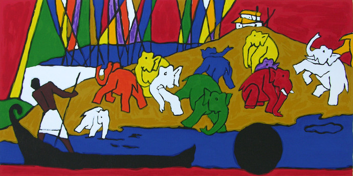 Folklore Kerala - I by M F Husain, Expressionism Serigraph, Serigraph on Paper,