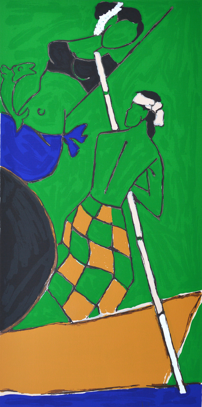Folklore Kerala - V by M F Husain, Expressionism Serigraph, Serigraph on Paper, Green color