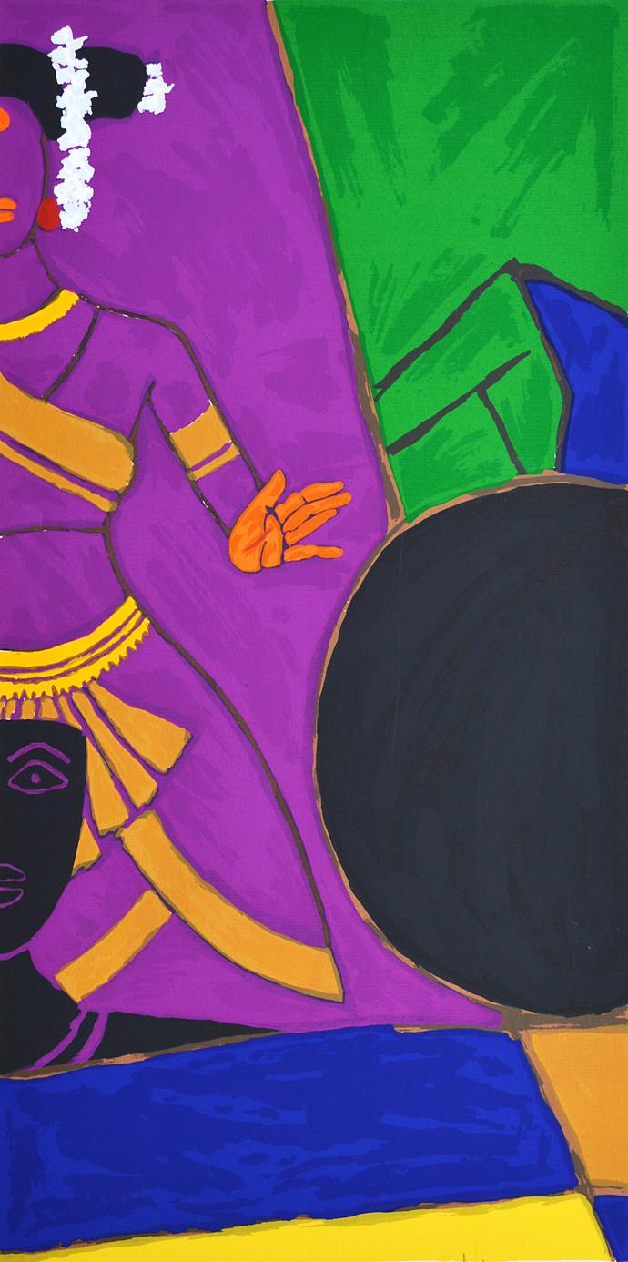 Folklore Kerala - IX by M F Husain, Expressionism Serigraph, Serigraph on Paper, Purple color
