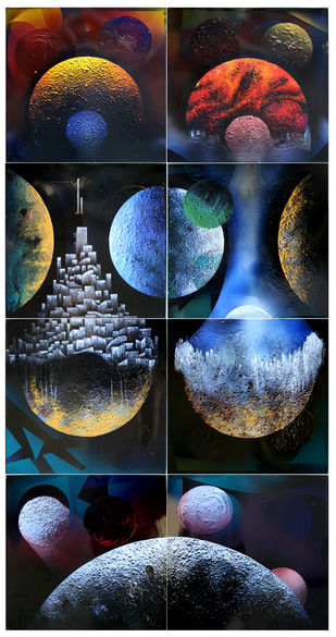 Cosmic Energy by Lomror Kana, Surrealism Painting, Vitreous Enamels on Metal, Blue color