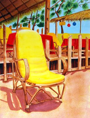 Praia Ensolarada (Sunny Beach) by Swati Joshi Phatak, Impressionism Painting, Watercolor & Ink on Paper, Brown color