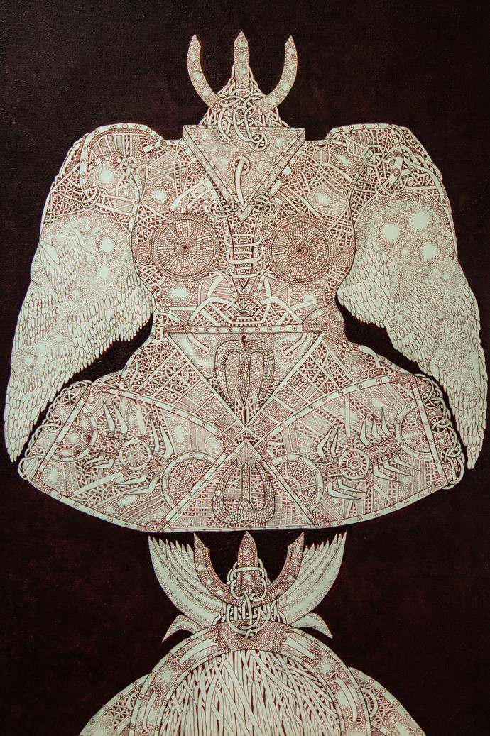 Unspoken Myths 6 by Mangesh Narayanrao Kale, Illustration Painting, Acrylic & Ink on Canvas, Brown color