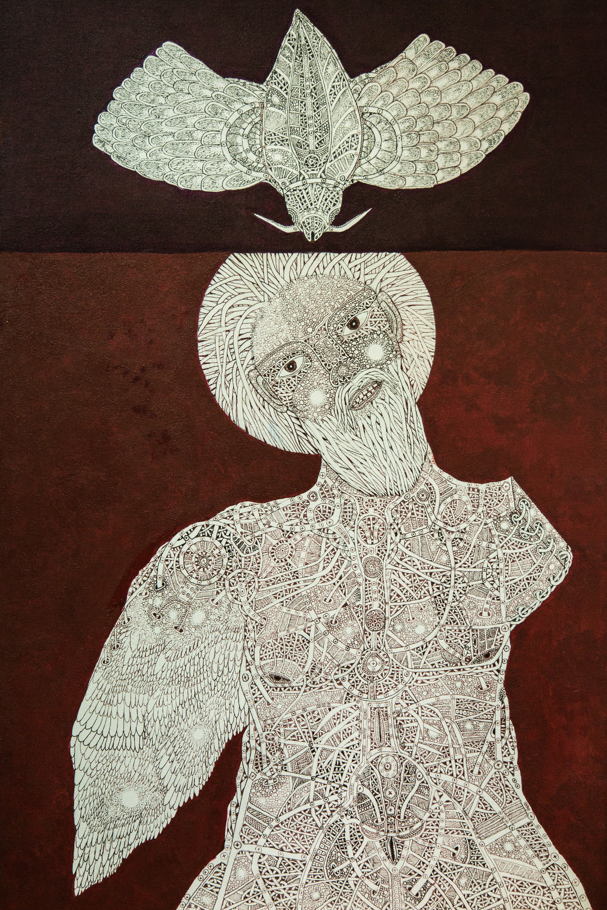 Unspoken Myths 2 by Mangesh Narayanrao Kale, Illustration Painting, Acrylic & Ink on Canvas, Brown color