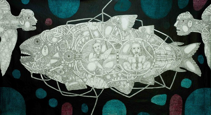 Timeless Solitude 6 by Mangesh Narayanrao Kale, Illustration Painting, Acrylic & Ink on Canvas, Beige color