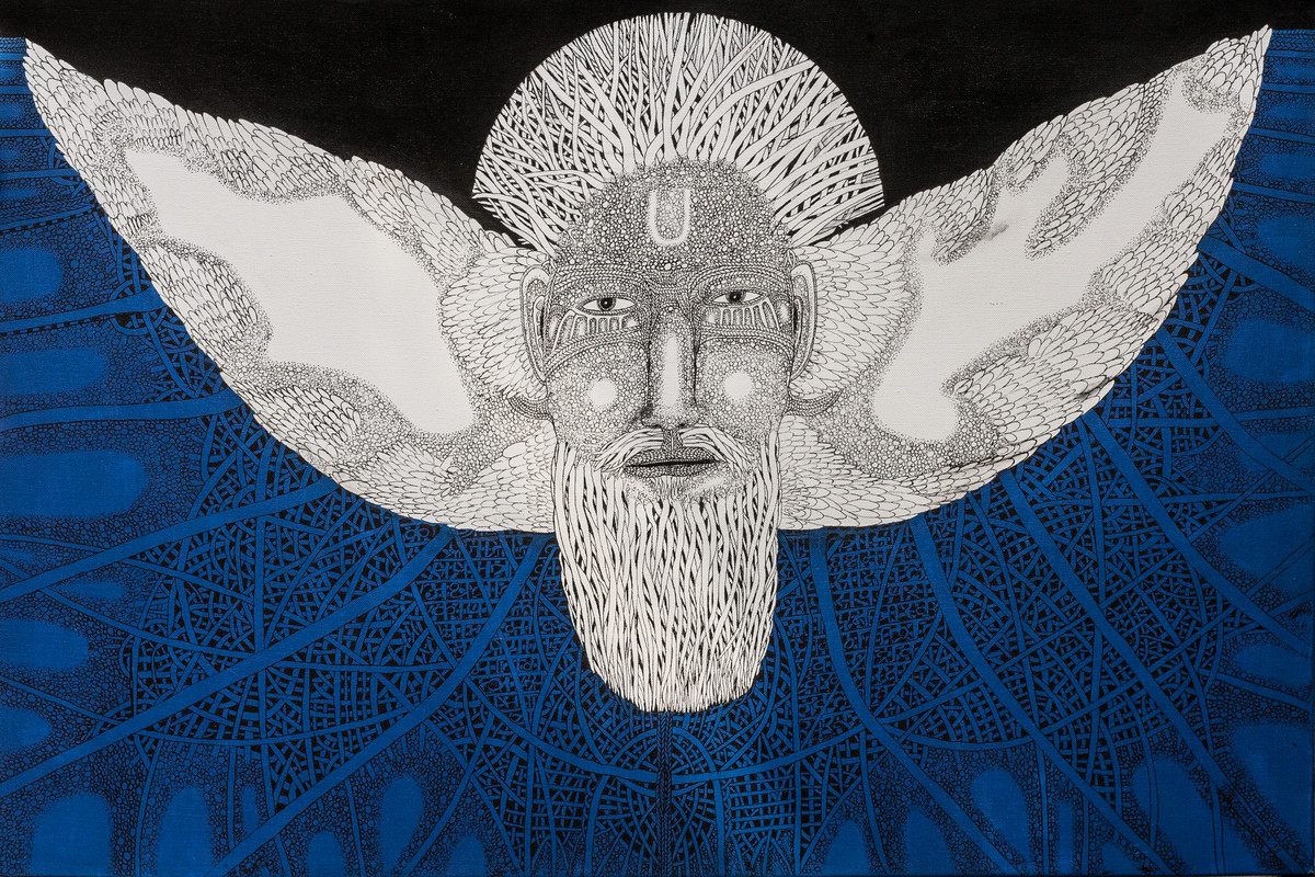 Priest 2 by Mangesh Narayanrao Kale, Illustration Painting, Acrylic & Ink on Canvas, Blue color