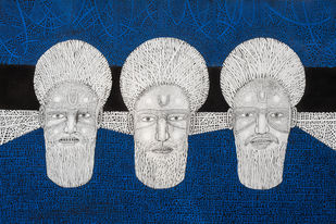 Priest 3 by Mangesh Narayanrao Kale, Illustration Painting, Acrylic & Ink on Canvas, Blue color